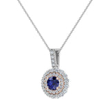Round Cut Blue Sapphire Double Halo 2 tone necklace 14K Gold (G,SI) - Rose Gold
