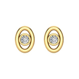 Diamond Earrings Oval Shape Studs Bezel Settings 10K Gold (J,SI2-I1) - Yellow Gold