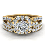 Wedding Ring Set for Women Accented Diamond Loop Shank 1.00 - 1.05 ctw Carat 14K Gold (I,I1) - Yellow Gold