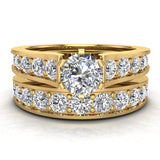 Riviera 18K Wedding Rings for Women Bridal Set Round Cut 1.80 carat 18K Gold (G, SI) - Yellow Gold