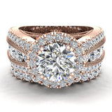 Moissanite Wedding Ring Set for Women 14K Gold Real Diamond accented Ring Channel Set 5.55 carat tw (G,SI) - Rose Gold