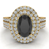 Black Diamond Engagement Rings for Women Oval Cut 14K Gold Diamond  Halo 2.65 carat (I,I1) - Yellow Gold