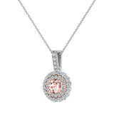 Round Cut Pink Morganite Double Halo 2 tone necklace 14K Gold (G,I1) - Rose Gold