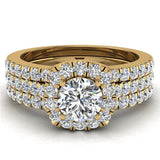 Round Cut Cushion Halo Ring Set w/ Enhancer Bands 1.33 Carat Total Weight 14K Gold (G,I1) - Yellow Gold