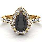Pear Cut Black Diamond Halo Engagement Ring 14K Gold (I,I1) - Yellow Gold