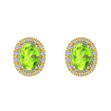 4.20 ct tw Green Peridot & Diamond Cabochon Stud Earring In 14k Gold (G, I1) - Yellow Gold