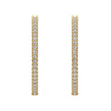 Exquisite 34.69 mm Diameter Inside Out Diamond Hoop Earrings 1.80 Ctw 14K Gold Shared Prong Setting (G,SI) - Yellow Gold