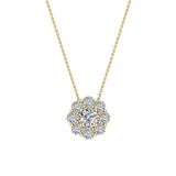 Round Diamond Halo Pendant 14K Gold (I,I1) - Yellow Gold