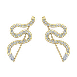 Snake style vines or Ear climber earrings 14K Gold (I,I1) - Yellow Gold