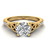 0.90 Carat Art Deco Trinity Knot Solitaire Wedding Ring 14K Gold (I,I1) - Yellow Gold