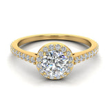 0.90 ct tw Round Brilliant Diamond Dainty Halo Engagement Ring 14K Gold (G,VS) - Yellow Gold