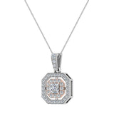 Princess Cut Diamond Cut Cornered Halo 2 tone Necklace 14K Gold (G,SI) - Rose Gold