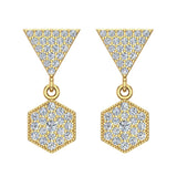 Hexagon Diamond Dangle Earrings 14K Gold (G,SI) - Yellow Gold