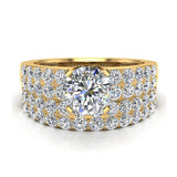 Two Row Solitaire Diamond Engagement Ring Set 14K Gold (I,I1) - Yellow Gold