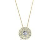 Round Double Halo Diamond Necklace 14K Gold (I,I1) - Yellow Gold