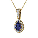 Pear Cut Sapphire Halo Diamond Necklace 14K Gold (I,I1) - Yellow Gold