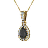 Pear Cut Black Diamond Halo Diamond Necklace 14K Gold (G,SI) - Yellow Gold