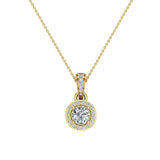 Round Brilliant Diamond Halo Pendant 14K Gold (G,I1) - Yellow Gold