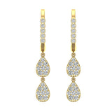 Teardrop Diamond Dangle Earrings Dainty Drop Style 14K Gold 0.92 ctw (G,SI) - Yellow Gold