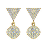 Cushion Diamond Dangle Earrings 14K Gold 0.80 ctw (G,SI) - Yellow Gold