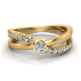 Minimalist Twin Shank Promise Diamond Ring 14K Gold 0.40 CTW (I,I1) - Yellow Gold