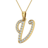 Initial Necklace V Letter charms Diamond pendant necklace 18K Gold (G,VS) - Yellow Gold