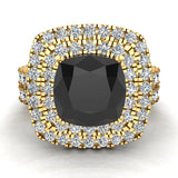 Black Diamond Cushion Cut Double Halo Diamond wedding rings for women 14K Gold 3.80 ctw (G,SI) - Yellow Gold