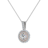 Round Brilliant Diamond Double Halo 2 tone necklace 14K Gold (G,I1) - Rose Gold