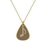 Signature Guitar Pick 18K Gold Necklace with Diamond Musical Note Highlights 0.10 ctw (G,SI) - Yellow Gold