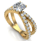 X Cross Split Shank Square Cushion Shape Diamond Engagement Ring 1.75 carat Total 14K Gold - Yellow Gold