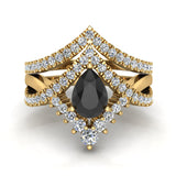Pear Cut Black Diamond Wedding Ring Set 14K Gold (I,I1) - Yellow Gold