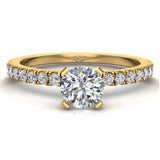 Petite Engagement rings for women Round Brilliant Cut diamond ring 14K Gold 0.65 carat (I,I1) - Yellow Gold