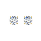 Diamond Earrings for Women Men Round Cut 14K Gold Diamond studs 1/4 - 1.00 ct tw Screw on posts (G, I2) - Yellow Gold