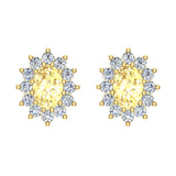 November Birthstone Yellow Citrine Diamond Stud Earrings Classic Oval Cut 14K Gold 1.50 cttw - Yellow Gold