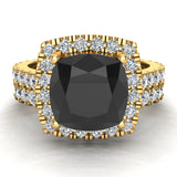 Black Diamond Cushion Cut Halo Diamond wedding rings for women 14K Gold 3.28 ctw (I,I1) - Yellow Gold