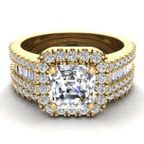 Stunning Princess Cushion Halo Diamond Wedding Ring Set 1.56 ctw 18K Gold (G,SI) - Yellow Gold