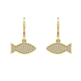 14k Fish 0.68 ct tw Pave Set Diamond Stud Earring (I,I1) - Yellow Gold