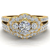 Three Stone Split Shank Wide look  Anniversary Engagement Ring Set Set 18K Gold (G,VS) - Yellow Gold