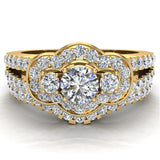 Three Stone Split Shank Wide look  Anniversary Engagement Ring Set Set 14K Gold (G,SI) - Yellow Gold