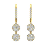 Circle Diamond Dangle Earrings Dainty Drop Style 14K Gold 1.22 ctw (I,I1) - Yellow Gold