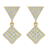 Square Diamond Dangle Earrings 18K Gold 0.80 ctw (G,VS) - Yellow Gold