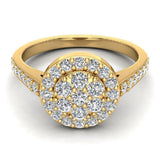 Dainty Flower Cluster Diamond Halo Engagement Ring 0.78 ctw 14K Gold (G,I1) - Yellow Gold