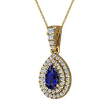 Pear Cut Sapphire Double Halo Diamond Necklace 14K Gold (G,SI) - Yellow Gold