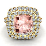 Pink Morganite Cushion Cut Double Halo Diamond engagement rings for women 14K Gold 3.00 ctw (G,SI) - Yellow Gold