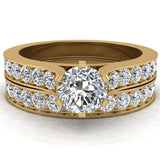 Wedding Rings for Women Bridal Set Diamond Rings 14K Gold - Cathedral Style (G,I1)