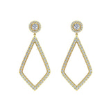 Magnificent Diamond Dangle Earrings delicate Kite Halo Stud 14K Gold (I,I1) - Yellow Gold