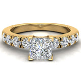 Engagement Rings for Women - Princess Cut Diamond 18K Gold  0.50 ct GIA Certificate - Yellow Gold