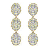 Oval Diamond Chandelier Earrings Waterfall Style 14K Gold (G,SI) - Yellow Gold