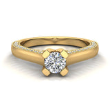 Petite Knife Edge Diamond Promise Ring 14K Gold 0.75 Ctw (I,I1) - Yellow Gold