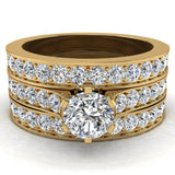 Wedding Rings for Women Bridal Set Diamond Rings w/Enhancer bands 14K Gold - Cathedral Style (G,SI) - Yellow Gold